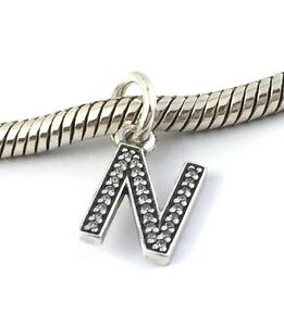 Authentic Pandora Sterling Silver Initial Letter N with CZ Charm 791326CZ New