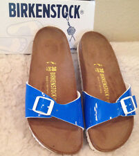 NWT BIRKENSTOCK Madrid NEON BLUE PATENT Sandals Shoes Sz 41 Womens 10 - 10  1/2
