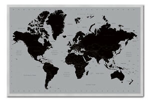 World Map Poster Contemporary Black Silver Magnetic Notice Board