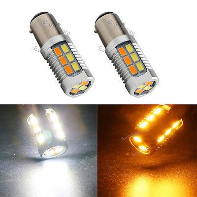 2Pc 1157 5630 22SMD BAY15D Amber//White LED Car Turn Signal Switchback Light Bulb