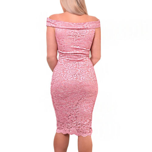 Ladies Ex Quiz Pink Lace Bardot Midi Prom Evening Party Cocktail Occasion Dress