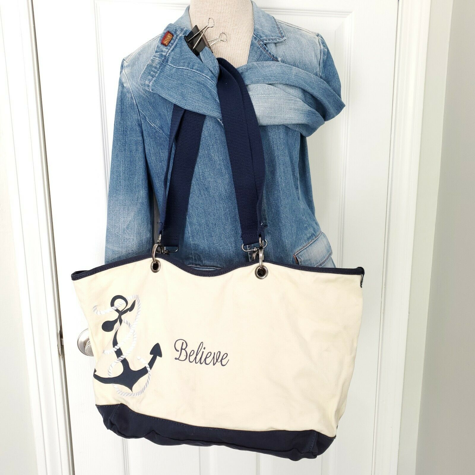 Thirty-One 31 Canvas Crew Anchor Tote Navy White Large Clean