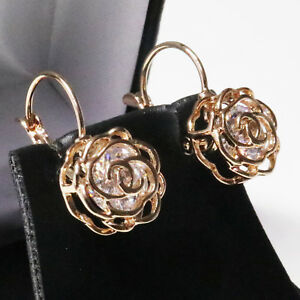 2-Ct-Round-Cubic-Zirconia-Stud-Earring-Women-Flower-Jewelry-14K-Rose-Gold-Plated