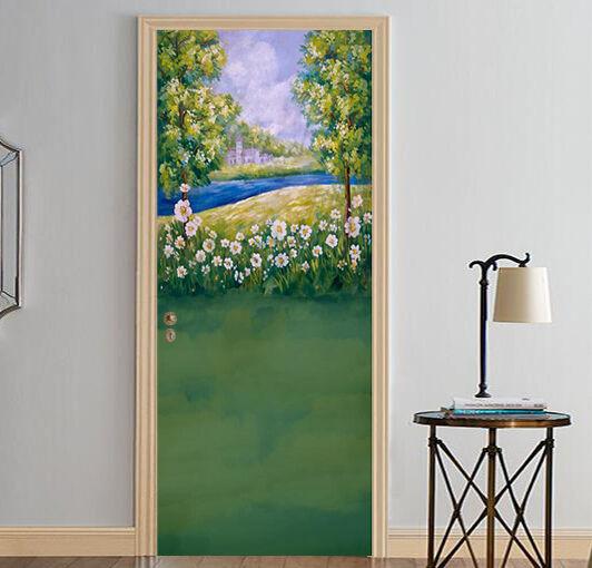 3D Gras, Blaumen 36 Door Wall Mural Photo Wall Sticker Decal Wall AJ WALLPAPER DE