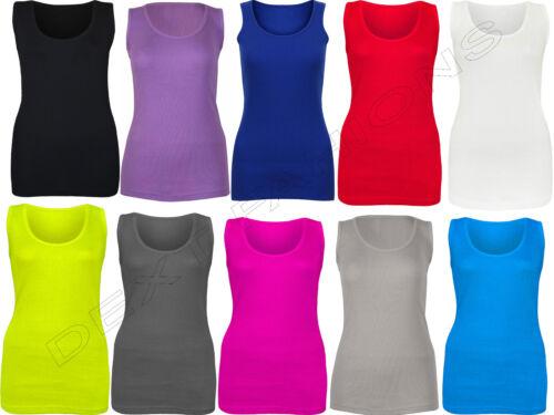 SHIRT PLUS SIZES 16-24 LADIES WOMEN PLAIN RIB STRETCH STRAP TOP RIBBED VEST T