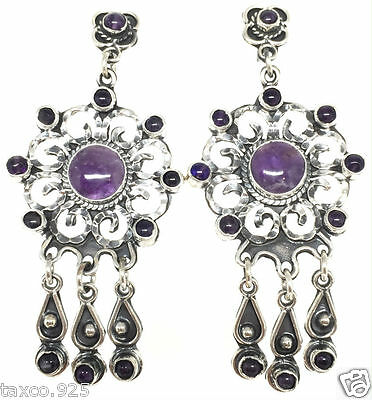 TAXCO MEXICAN 925 STERLING SILVER VINTAGE STYLE AMETHYST EARRINGS MEXICO