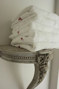 Vintage-French1900-039-s-terry-cloth-1-toweling-towels-French-F-hand-face-white-ONE
