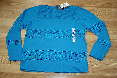 NWT Womens CHELSEA /& THEODORE Blue Cabochon L//S Knitted Sweater Size XL X-Large