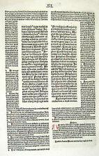 Latin Bible Leaf – Printed by Anton Koberger in Nuremberg – 1487