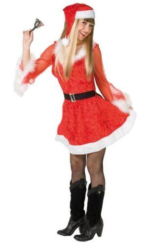 34-36-38-40-42-46 Deluxe di Babbo Natale Donna Abito Costume CAPPELLO BABBO NATALE VESTITO