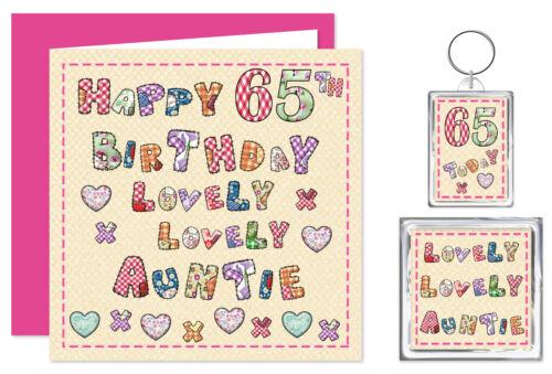 KEYRING /& Imán de 25-100 años precioso que tarjeta La tía Feliz Cumpleaños Conjunto de regalo