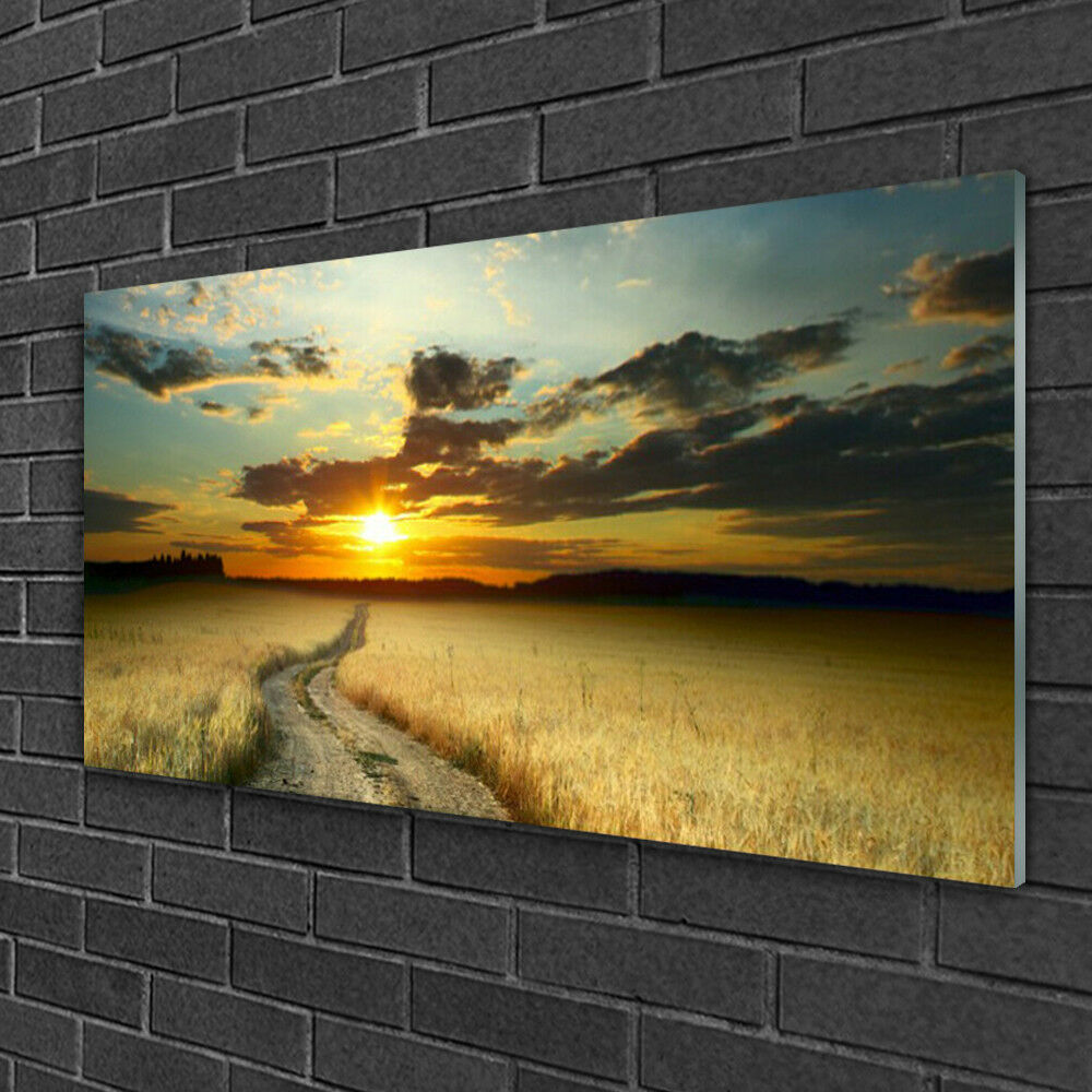 Image sur verre Tableau Impression 100x50 Paysage Chemin Prairie