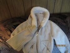 CANDIE CREAMY WHITE FAUX Suede PILE LINED WARM HOODED Juniors Coat Size SMALL