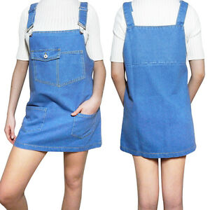 Womens-Denim-Dungaree-Dress-Overalls-Dungarees-Mini-Skirt-Front-Pockets-Pinafore