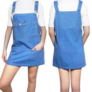 Womens-Denim-Dungaree-Dress-Overalls-Dungarees-Mini-Skirt-Front-Pockets-Pinafore