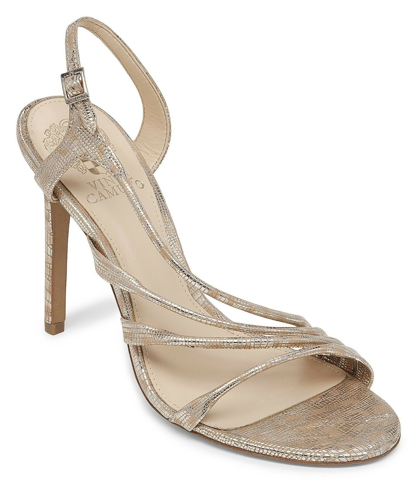Vince Camuto Tiernan Snake Slingback Dress Sandals, Dimensiones 9-10 Natural Metallic