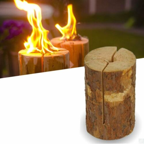 NEW 2 x Fire Log Candle Torch Campfire Party Light Garden Natural Outdoor Party