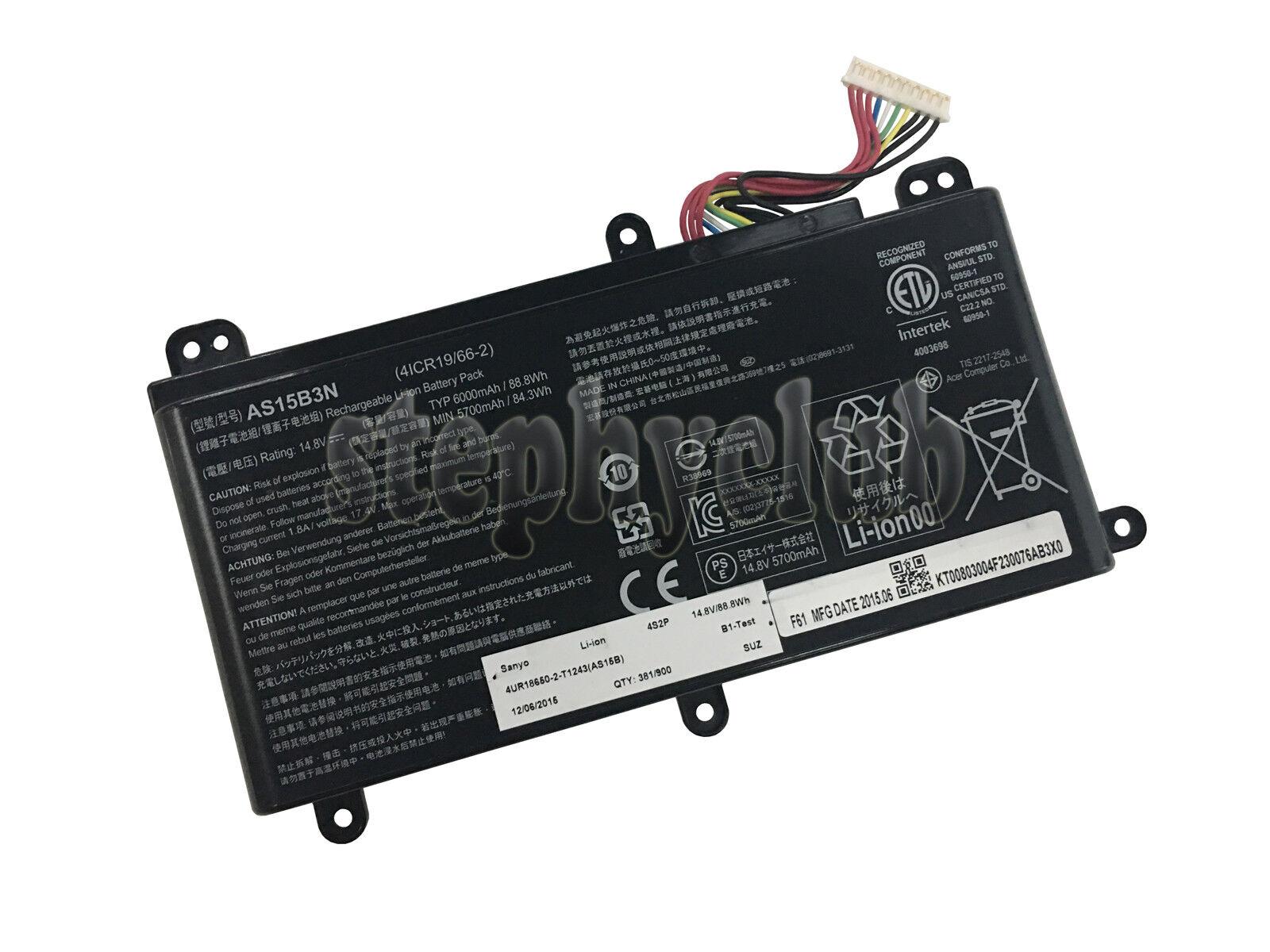 amsahr 14.8 V 88.8 W 6000 mAh Replacement Battery for Acer AS15B3N//Predator 15 G9-591-731D//17 G9-792-74TT