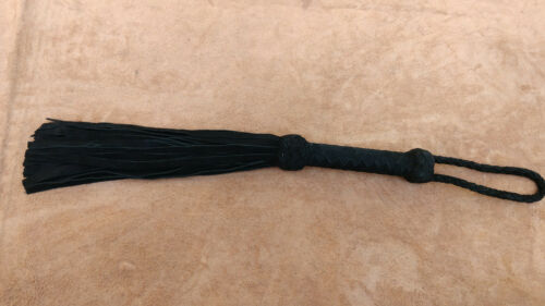 Black Beautiful Suede leather handler and Suede leather tails whip flogger