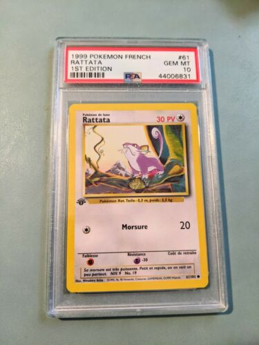 1999 Pokemon French Game Rattata 1st Edition #61 PSA 10 GEM MINT