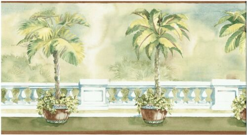 POTTED PALM TREES ON BIG BALCONY  Wallpaper bordeR Wall decor