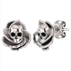 Floral-Skull-Stud-Earrings-0-50-ct-Round-Cut-Black-Diamond-14K-White-Gold-Over