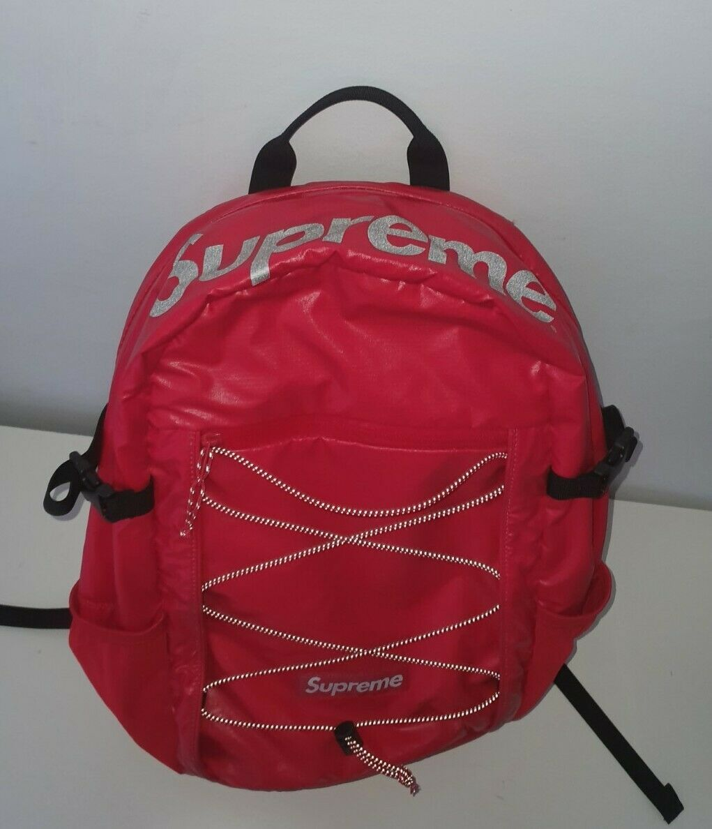 FW17 Supreme red backpack Cordura Fabric box logo Reflective text
