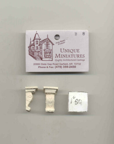 """Bracket  /""""carved plaster/"""" UMB8 dollhouse poly-resin 2pc corbel Unique Miniatures"""