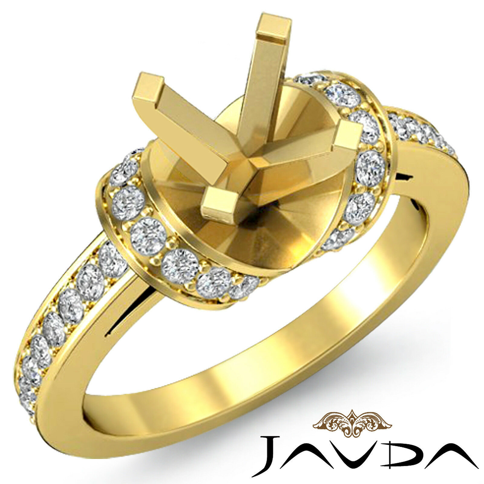 Diamond Engagement Multi Shape Women Ring Round Semi Mount 18k Yellow gold 0.5Ct