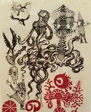 VINTAGE 1971 MID CENTURY MOD OUTSIDER INSPIRED FINE ART LISTED ARTIST MEDUSSA IL