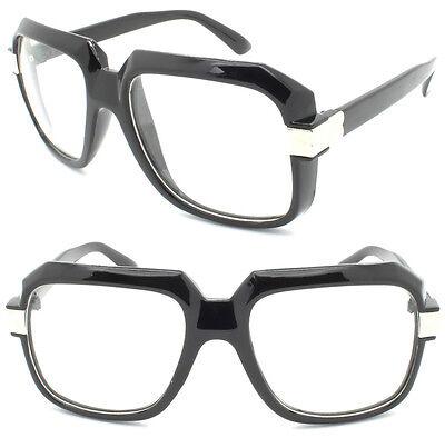Square Large Flat Top Clear Lens Glasses Geek Nerd 80s Celebrity Hip Hop RUN DMC