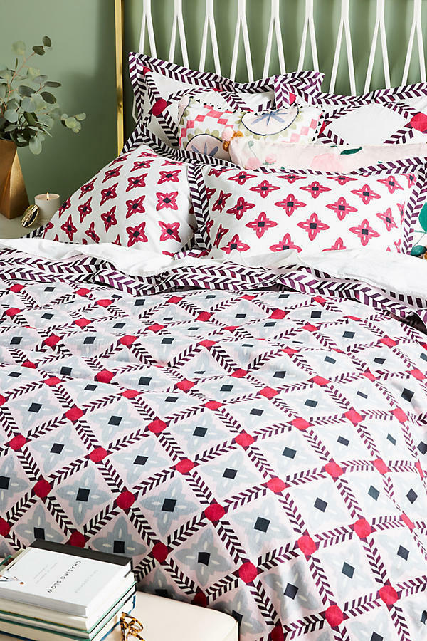 Anthropologie Bonnie and Neil Printed King Duvet Cover Cotton