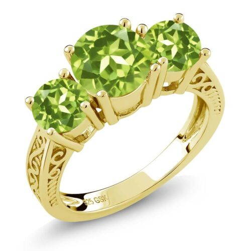 2.35 Ct Round Green VS Peridot 18K Yellow Gold Plated Silver 3-Stone Ring