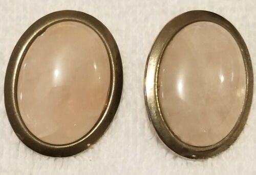 Vintage Cabochon Clip On Earrings Purple Pink Gems