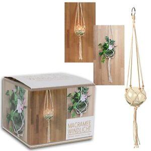 windlicht vase aus glas mit makramee zum h ngen l 70 cm teelichthalter h ngevase ebay. Black Bedroom Furniture Sets. Home Design Ideas