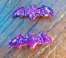 Purple Bat Hair Clips - Halloween - Glitter Sparkly