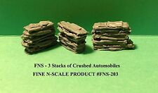 STACKS OF CRUSHED AUTOMOBILES - 3 SETS - N SCALE: FNS-203-1