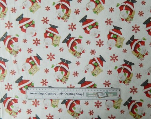 Quilting Patchwork Sewing Fabric SANTA CHRISTMAS ALLOVER Cotton Sewing 50x55 ...