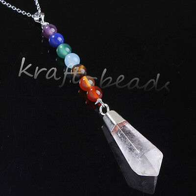 1x Natural Rock Quartz Crystal Hexagon Pendulum Healing Chakra Pendant Necklace