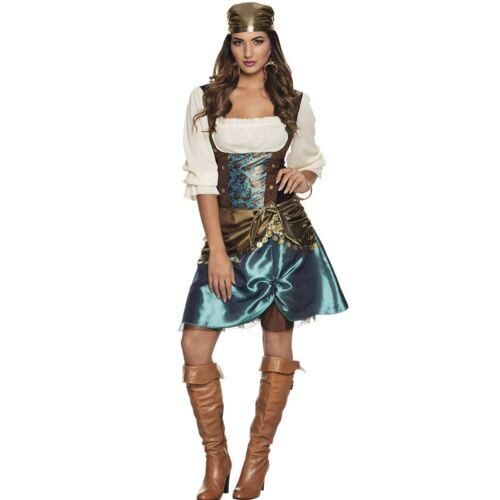 Ladies Romany Gypsy Esmerelda Costume Fortune Teller Fancy Dress Outfit