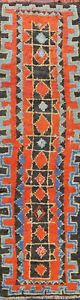 Vintage-Geometric-Tribal-Moroccan-Oriental-Runner-Rug-Hand-knotted-3-039-x11-039-Carpet