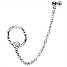 "16g 1/4"" Barbell  Captive Ear  Earring Cartilage Helix Chain Dangle Clear CZ #1"