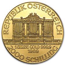 1989 1 oz Gold Austrian Philharmonic Coin - Inaugural Issue