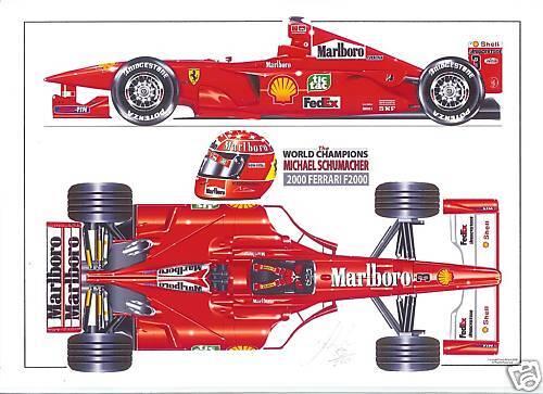 Michael Schumacher ltd.ed.art print 2000 Ferrari F2000