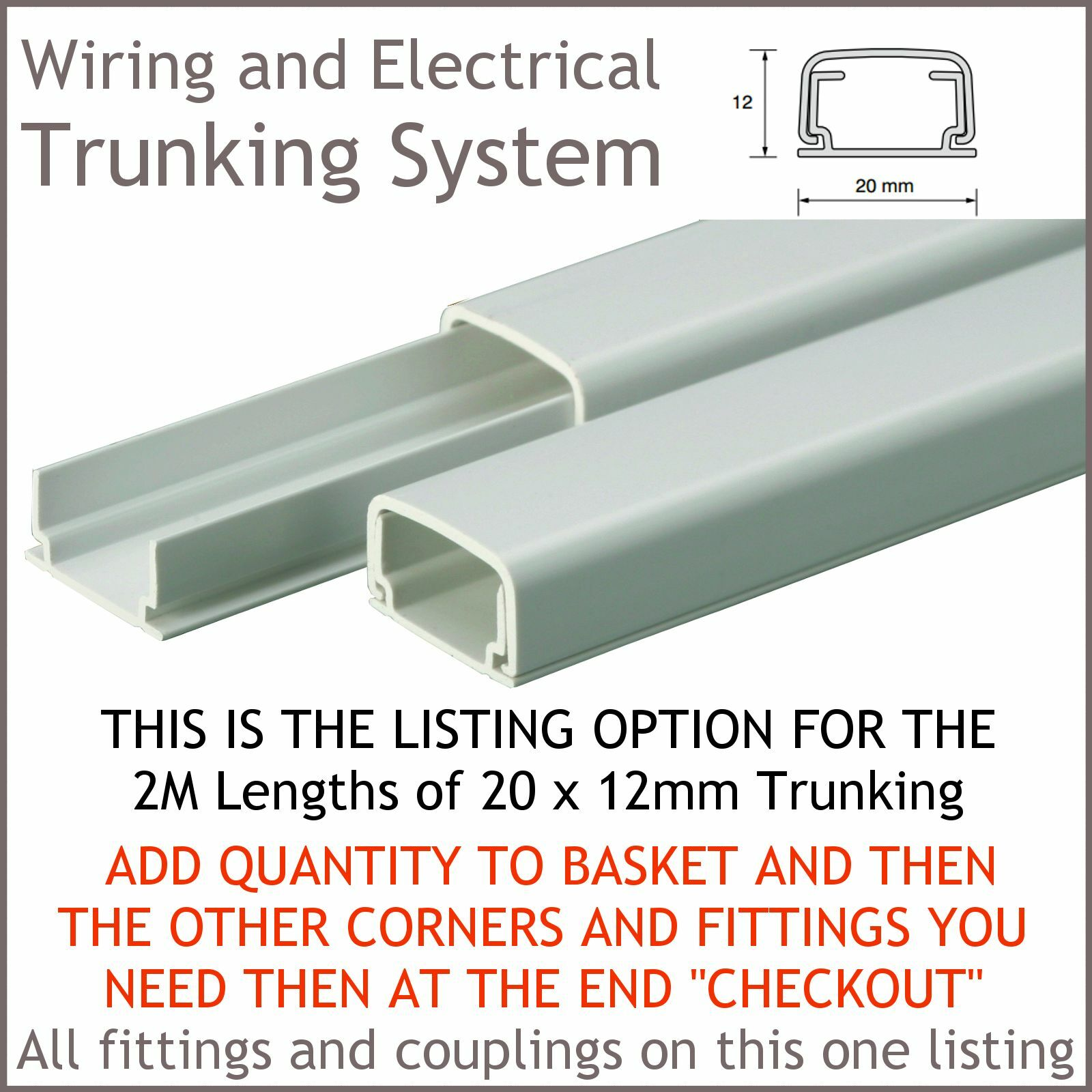 20 X12mm TRUNKING SYSTEM. Product Information  sc 1 st  eBay : trunking system of wiring - yogabreezes.com