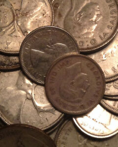 BIG-LOT-OF-SILVER-CANADA-25-10-CENTS-2-NFLD-5-CENTS-25-COINS-TOTAL