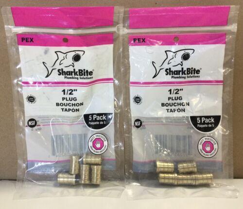 """2 Pack Sharkbite Brass 1//2/"""" PEX Plug 5ct//pack UC514LFA5 L4"""