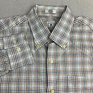 Peter-Millar-Button-Up-Shirt-Mens-Sz-M-Blue-Brown-Long-Sleeve-100-Cotton-Check