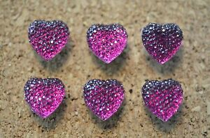 6 blingy, MAGENTA heart-shaped,bulletin board pushpins, thumbtacks, or magnets