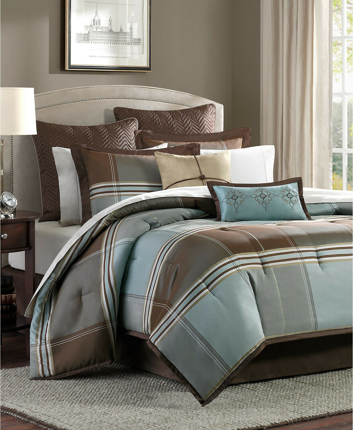 Lincoln Square 8pc King Size Reversible Comforter Set, Brown & Light bluee Plaid